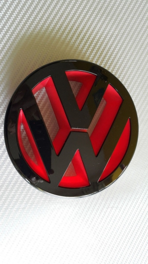 Gloss Black and Red Front VW Badge